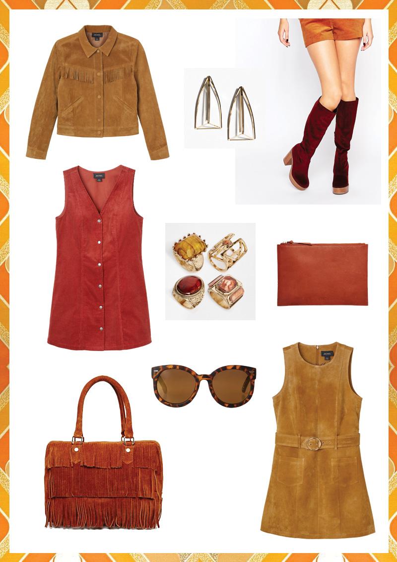 Look 70's : sélection tenue daim