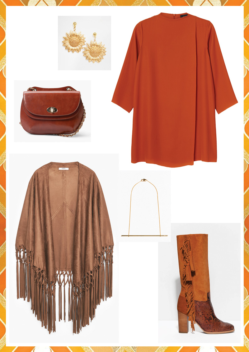 Look 70's : tenue classe, hippie chic, poncho à franges