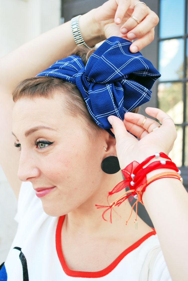 Blue Jean Headband Big Bow